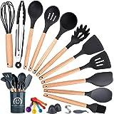 DIDUDE 33 Ustensiles de Cuisine,Ustensiles de Cuisine en Silicone Antiadhésif, Ensemble de Cuisine Résistant Aux Rayures,Tass