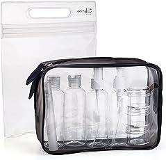MOCOCITO Borse da Toilette Trasparente con 8 Bottiglie(Massimo 3.04oz/100 ml) approvata secondo le regolamentazioni UE e UK sul Bagaglio a Mano| Beauty Case da Viaggio con Zip