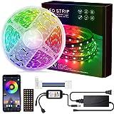 Loekoicy - Tira de luces LED 5050 RGB (300 ledes, aplicación controlable y mando a distancia, IP65, resistente al agua, tira