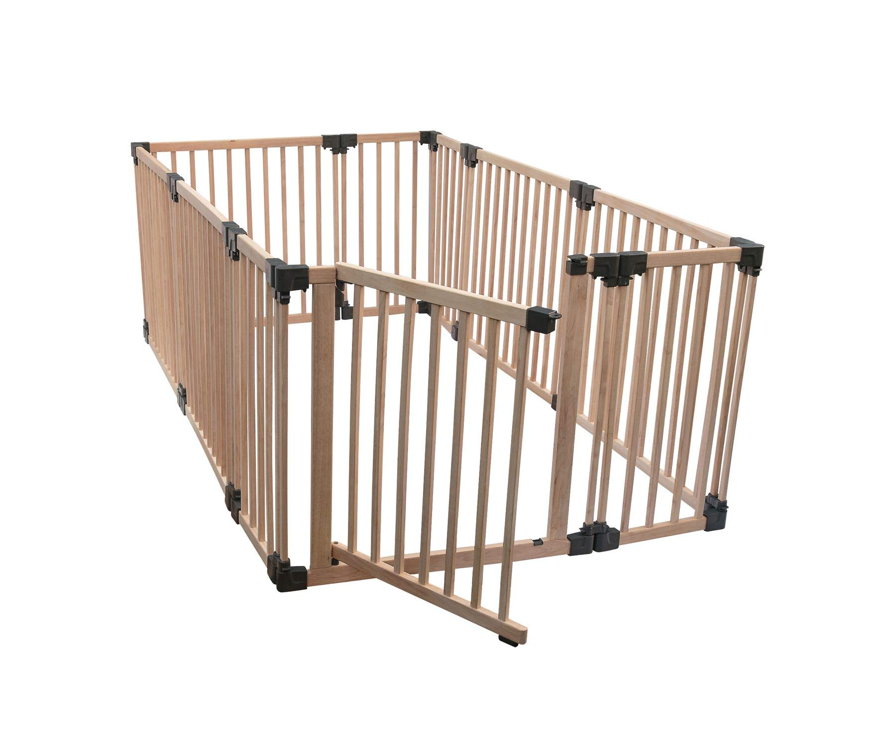 Safetots Play Pen Wooden All Sizes (Large Rectangular) Safetots This configuration is complete with 1x 80cm gate panel, 5x 80cm panels, and 4x 40cm panels. Made from premium grade wood designed to compliment all home interiors Extra Wide Door Section for Easy Access, with simple slide and lift opening mechanism 2