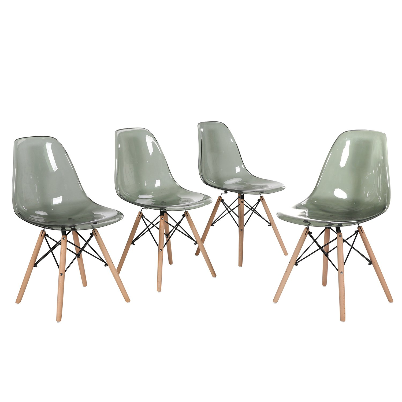 4 silla pl stico de comedor sal n cocina transparente for Sillas comedor plastico