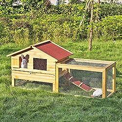 iKayaa AB2012 - 62 pulgadas Jaula con rampa de madera para gallinas conejos,multiuso gallinero conejera para exterior