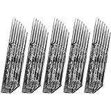 Healifty 50pcs microblading penna tatuaggio ago sopracciglia lame tatuaggio aghi inclinati doppia fila 50 pin forniture tatua