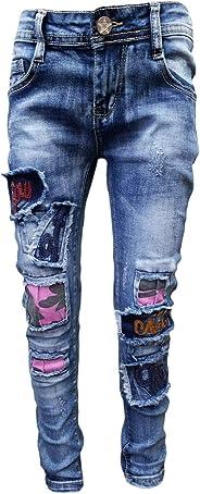 familientrends Mädchen Jeans modern Kinder Hose Taillengummi Risse Patches trendy 104 bis 158