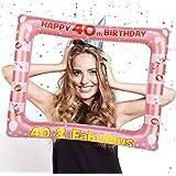 HOWAF 40 Anni Compleanno Photo Booth Prop Cornice Gonfiabile Cornice per Selfie 40 Anni Compleanno Cornice Foto Props Accesso