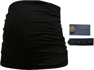 Mamaband Schwangerschafts Set Bauchband & Hosenbunderweiterung – Shirtverlängerung & Elastische Hosen- und Jeanserweiterung für Schwangere in Schwarz & Jeans-Optik in DREI Größen