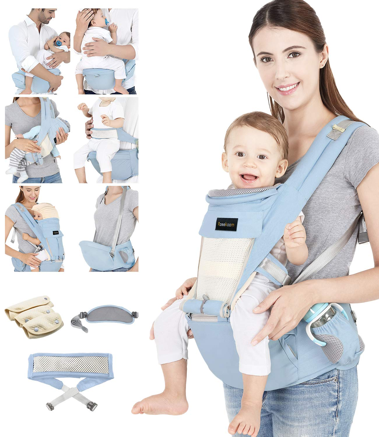 Azeekoom Baby Carrier, Ergonomic Hip Seat, Baby Carrier Sling with Fixing Strap, Bibs, Shoulder Strap, Head Hood for Newborn to Toddler from 0-36 Month (Light Blue)  【More Ergonomic】 - Baby carrier for newborn has an enlarged arc stool to better support the baby's thighs, the M design that allows the knees to be higher than the buttocks when your baby sits, is more ergonomic.The silicone granules on the stool provide a high-quality anti-slip effect that prevents the baby from slipping off the stool. 【Various Methods of Carrying】- There are 5 combinations of ergonomic baby carrier and a variety of ways to wear them.Hip Seat/Fixing Strap + Hip Seat/Shoulder Strap + Hip Seat/Strap + Hip Seat/Strap, 5 combinations to meet your needs.Fixing Strap frees your hands and prevent your baby from falling over the stool.The shoulder straps reduce the burden on your waist and make you more comfortable. 【More Comfortable】 - The baby carrier is made of high quality cotton fabric with 3D breathable mesh for comfort and coolness. The detachable sunshade provides warmth in winter and fresh in summer. The detachable cotton slobber allows you to Easy to change. At the same time, the zip closure is designed for easy removal and cleaning. 1