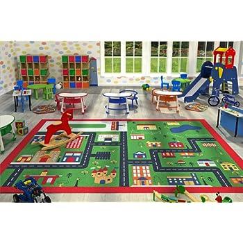 Kids Children Large Girls Boys Fun Rugs Green Town (80x120cm) City  Playground Bedroom Playroom