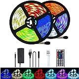 UTTORA 10M Tira LED, Tiras LED RGB 5050 12V con 300 LEDs, Iluminación de ambiente,Impermeable, Control Remoto de 44 Teclas pa