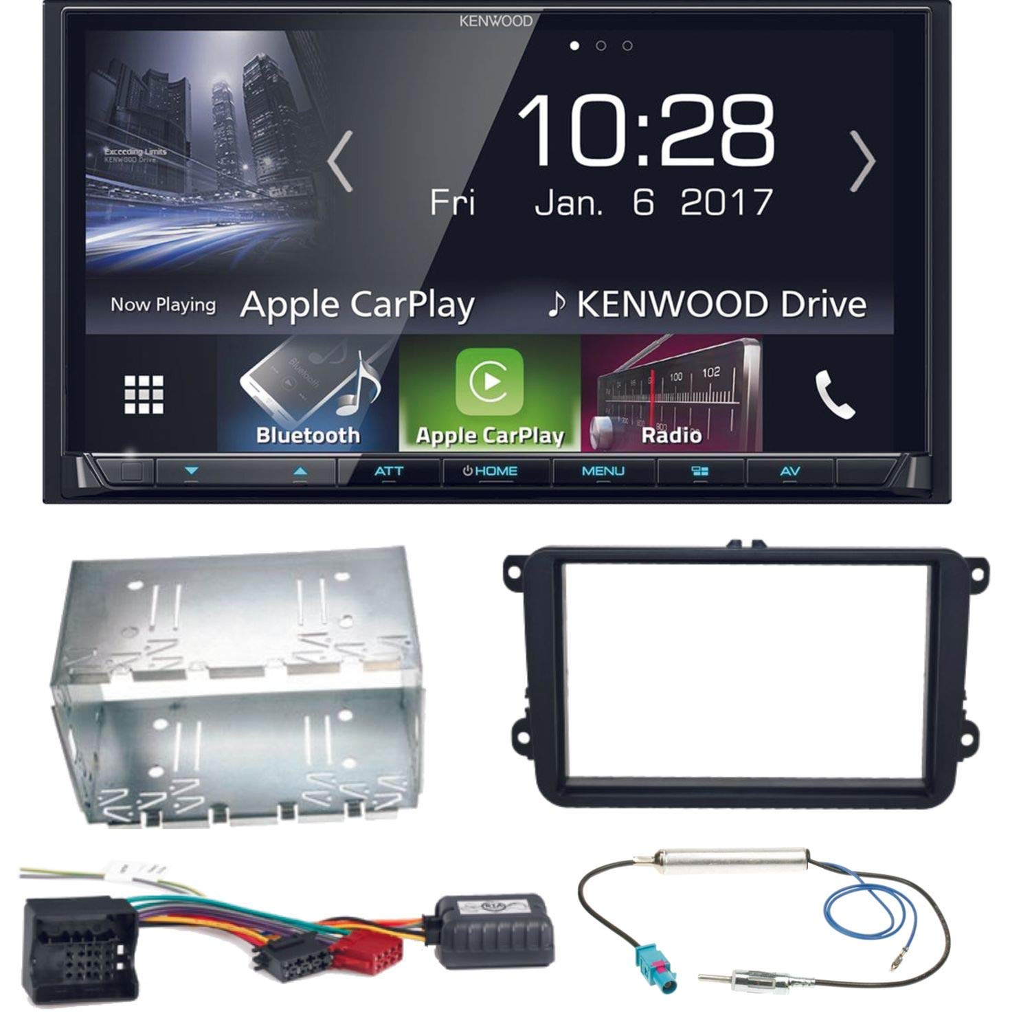 Kenwood-DMX-7017BTS-Bluetooth-Carplay-Android-Auto-USB-MP3-Autoradio-Einbauset-fr-Golf-5-6-Passat-3C-CC-B7-Touran