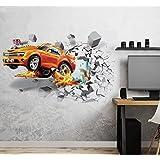 Aoligei Stickers muraux 3D Voiture Autocollants décoratifs Sport Poster Sticker Mural pour Chambre Soccer Ball Wall Sticker A