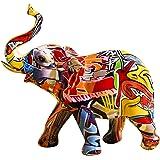 Uziqueif Elephant Decoration, Figurines Animaux en Resine, Objet Decoration Moderne Sculpture Graffiti, Statue Elephant Deco
