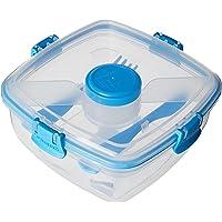 Sistema SI21356-2 Boîte à Salade avec Couvert, Plastique, Bleu, 16,7 x 16,7 x 8,6 cm