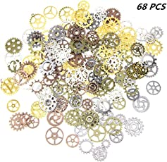 Fancyku 100 Gram 68pcs Assorted Antique Steampunk Gears Charms Pendant Clock Watch Wheel Gear for Crafting Jewelry Making Accessory