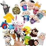 JZK 24 Ensemble de Marionnettes à Doigts Famille Peluche Animaux Jouets à Doigts Remplisseurs de Sac de Fête Finger Marionnet