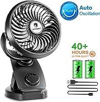 FITFORT Ventilador USB Silencioso - Máx 43 Horas de Trabaja Mini Fan Portátil con Pilas Recargable para Cochecito de...