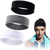 3 Pieces Elastic Sport Headbands Yoga Cotton Headbands Mixed Colors Workout Sweatbands Non Slip Exercise Fitness…