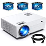 "FunLites Projector,+80% Brightness HD 4900LUX Video Projector with 200"" Display 60,000 Hrs Led Home Theater Projector, 1080P"