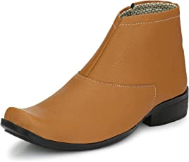 Shoe Island  Popular Chelsea-X Tan Brown Leatherette Zipper High Ankle Length Casual Chelsea Boots for Men