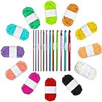 Ledeak 12 Pelotes de Multicolores en Polyester Tissage à La Main avec 2.0-8.0mm Crochets en Aluminium Tricot Outils pour…