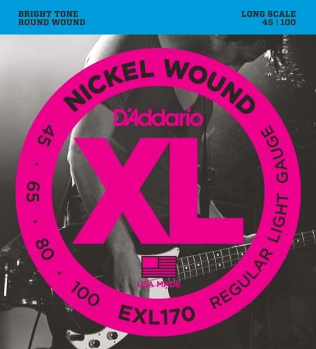 D'Addario EXL170 - Juego de cuerdas para bajo eléctrico de níquel.045 - .100