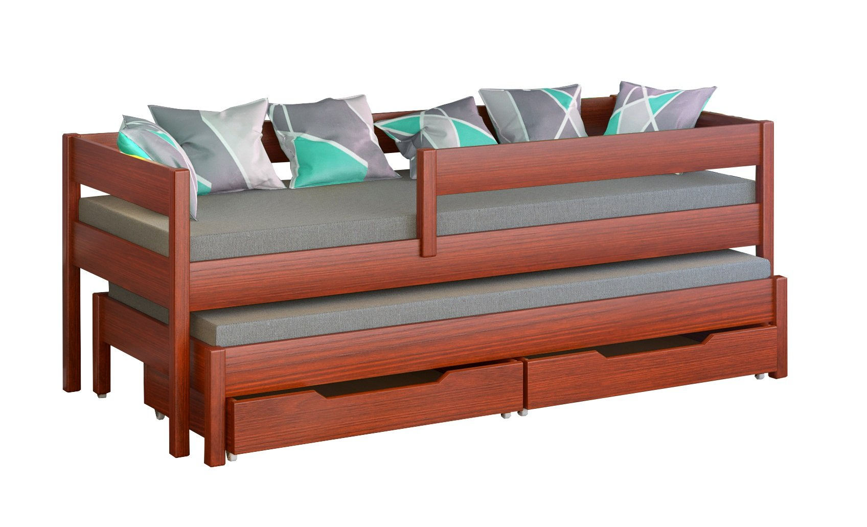 Jula Single bed for kids with trundle. Drawers included (180x80/170x80, Palisander) Jula Bed with trundle Legs made of solid wood with a thickness of 45x45 mm You get the external dimension of the bed by adding 7 cm in to the dimension in table Bedframe strength up to 150kg 1