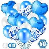 O-Kinee Palloncini Blu Blue, 50 Pezzi Set Palloncini con Coriandoli, Palloncino Foil Cuore Blu, Palloncini Blu e Bianchi per
