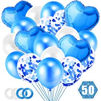 Ballon Bleu, 50 pièces Ballons de Confettis Set, Ballon Aluminium Coeur Bleu, Ballon Bleu et Blanc pour Baby Shower…