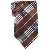 Retreez, cravatta da uomo, elegante con motivo stile tartan scozzese incrociato, tessuto in microfibra, sottile
