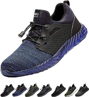 Gainsera Chaussures de Travail de sécurité Hommes Femmes Bout en Acier Chaussures de sécurité Anti-crevaison Protection Respirant léger Baskets Confortables Unisexe