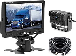 """Camecho 12V - 24V Auto-Rückfahrkamera Wasserdichte Nachtsicht Rückfahrkamera verdrahtet System Kit + 7"""" TFT LCD-Monitor für Bus/Trailer / LKW Van/RV / Camper"""