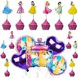 Babioms 29Pcs Pallone Foil, Principesse Palloncino, Biancaneve Cake Topper, per Decorazione di Torte di Compleanno con Princi
