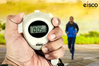 Labzio by EISCO - LCD Digital Professional Stopwatch, Displays Normal Time, Hours, Minutes, Seconds, Days, Dates, Months, Chronograph 1/100 Sec. With Lap/Split, Accurate To 1/100th Second, With Alarm, 12/24 Hour Format and Hourly Chime, Comes With An Instruction Manual