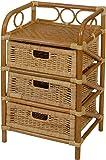korb.outlet Rattan-Kommode mit 3 Schubladen Badregal Korb Regal 3 Schubfächer aus echtem Rattan 46 cm breit (Honig)