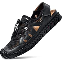 NUHEEL Mens Sports Sandals, Hiking Sandals Men's Walking Outdoor Sports Ankle Strap Sandals Beach Leather Closed Toe…