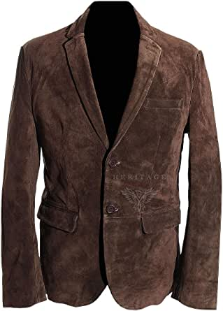 Carter Brown Men's Smart 2 Buttons Real Cowhide Suede Leather Fashion Blazer Jacket (Sizes: XS to 5XL Available)