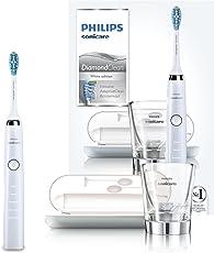 Philips Sonicare DiamondClean Elektrische Zahnbürste HX9339/89 - Schallzahnbürste mit 5 Putzprogrammen, Timer, USB-Reise-Ladeetui & Ladeglas – Weiß