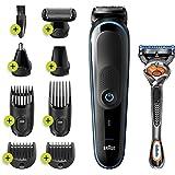 Braun MGK5280 9-in-1 Multigroom, Baardtrimmer Voor Mannen, Bodygroomer En Haartrimmer, Zwart/Blauw