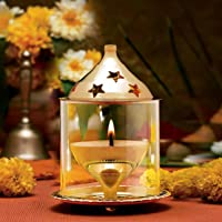 Decorate India Brass Akhand Diya with Borosilicate Glass (Gold_3.1 Inch X 3.1 Inch X 4.7 Inch)