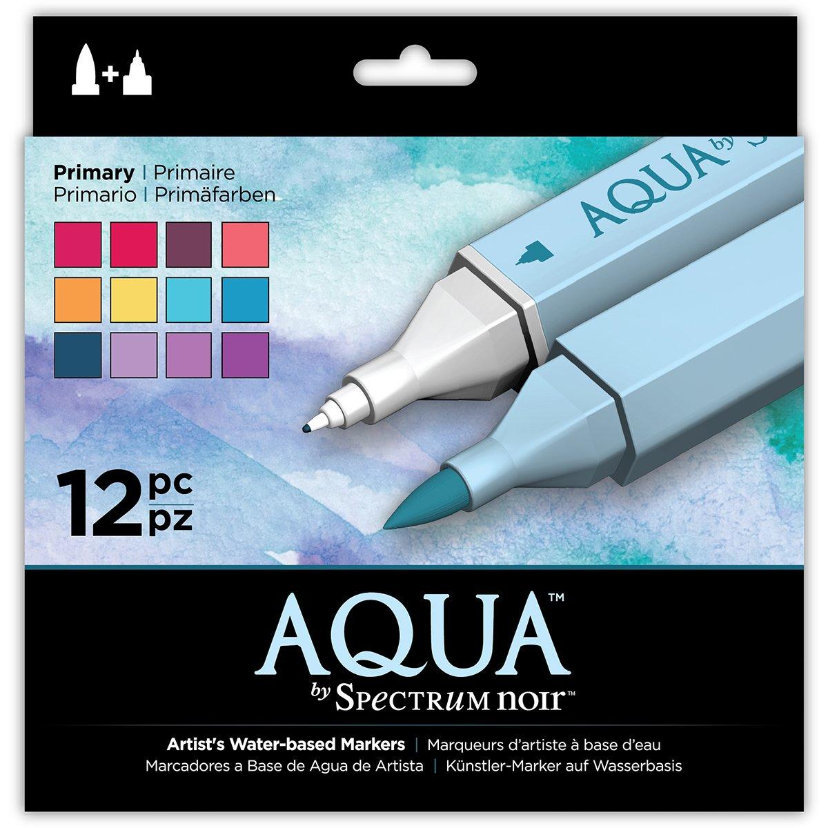 Spectrum Noir Aqua Pennarelli a base d'acqua, plastica, Primary, 19 x 18.4 x 2.1 cm