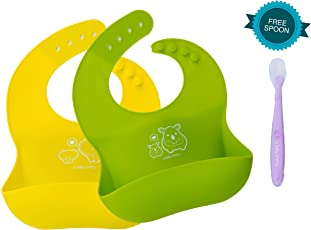 A Baby Cherry Unisex 21st Century Waterproof Silicone Bib for Infants and Toddlers, Set of 2 and Soft Spoon