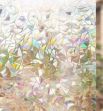 rabbitgoo 3D Fensterfolie Selbstklebend Dekorfolie Sichtschutzfolie Statisch Haftend Anti-UV - Regenbogenfarben Effekt Unter Licht