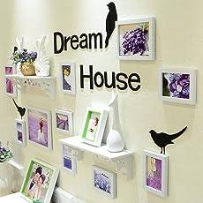WollWoll Flower Lavender Scenery with Shelf Home Decor Large Photo Frame Set (150 cm x 1.6 cm x 83 cm, White)
