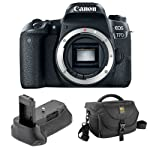Canon EOS 77D DSLR Camera  Body Only  with Vello BG C15 Battery Grip and Journey 34 DSLR Shoulder Bag  Black