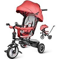 besrey 4 en 1 Tricycle Poussette V/élo Walker pour Enfant de 1 /à 6 Ans avec Le Pare-Soleil et la Tige-Poussoir. Gris//Rouge//Noir