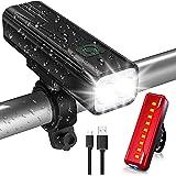 Babacom Luz Bicicleta, Luces Bicicleta USB Recargable con 5 Modos, IPX5 Impermeable Alta Potencia Luces Bicicleta Delantera y
