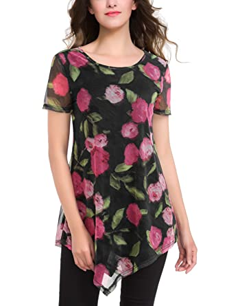 da0bee80566 BAISHENGGT Femme T-shirt en Mousseline de soir Imprime floral Tunique d ete  Noir 1 L  Amazon.fr  Vêtements et accessoires