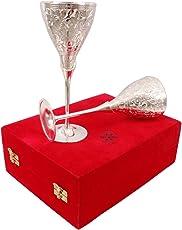 IndianArtVilla Siver Plated Goblet Flute Glass Tumbler, Barware, Best in Parties, 400 ML, Set of 2