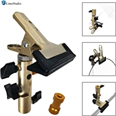 LimoStudio Spring Clamp Clip Reflector Holder with Umbrella Reflector Adapter, 1/4 '' and 3/8 '' Female Screw Thread Stud, Multi Functional Adapter, AGG2587