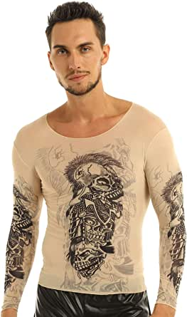 CHICTRY Men's Fake Tattoo Tribal Inspired Print Long Sleeve Stretch T Shirt Top